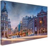 Madrid by night Canvas 120x80 cm - Foto print op Canvas schilderij (Wanddecoratie woonkamer / slaapkamer) / Steden Canvas Schilderijen