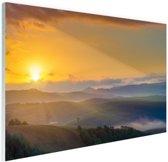 Zonsopkomst in Toscane Glas 120x80 cm - Foto print op Glas (Plexiglas wanddecoratie)