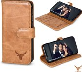 Gazzi Lederen iPhone X / Xs Cover - Book Case - Cognac Brown