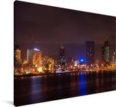 Skyline van Abidjan in de avond Canvas 30x20 cm - klein - Foto print op Canvas schilderij (Wanddecoratie woonkamer / slaapkamer)