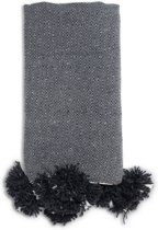 Pom pom deken – handgeweven uit wol & katoen – 1 x 2 meter - Plaid