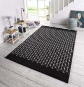 Design vloerkleed Twist - zwart/crème 140x200 cm
