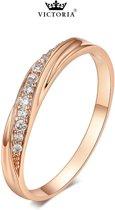 Victoria - Rose Goudkleurige Ring - Oostenrijkse Zirkonia Bergkristallen - Maat 56 (17.75mm)