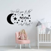 Muursticker We Love You To The Moon And Back -  Lichtblauw -  160 x 110 cm  - Muursticker4Sale