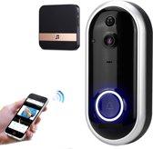 Draadloze Deurbel met camera 720P  -Zonder batterij– Nachtzichtfunctie en bewegingsdetectie   –  Deurtelefoon inclusief  -Video Deurbel -zwart