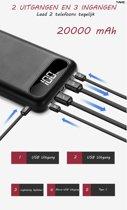 TAKC Powerbank – 20.000 mAh – 2X USB uitgangen – 1X Lightning ingang – 1X Type C ingang – 1X Micro usb ingang