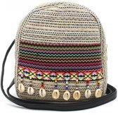 Trendy Rugzak Ibiza - Crossbody Bag - Schelpjes en Glitters - 22x20x10cm - Grijs - Dielay