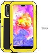 Metalen fullbody hoes voor Huawei P20 Pro, Love Mei, metalen extreme protection case, zwart-geel