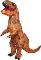 Opblaasbaar T-rex kostuum VOLWASSEN bruin - one size - dino pak dinosaurus Jurassic World™ Trex dinopak festival