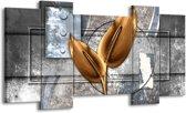 Schilderij | Canvas Schilderij Modern | Grijs, Goud | 120x65cm 5Luik | Foto print op Canvas