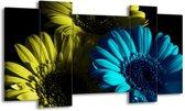 Canvas schilderij Bloem | Blauw, Zwart, Groen | 120x65 5Luik