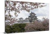 Het Kasteel van Himeji tussen de kersenbomen in Japan Aluminium 90x60 cm - Foto print op Aluminium (metaal wanddecoratie)