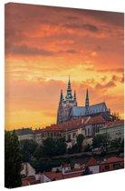 Zonsondergang in Praag Canvas 20x30 cm - Foto print op Canvas schilderij (Wanddecoratie woonkamer / slaapkamer) / Steden Canvas Schilderij