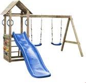 SwingKing speeltoestel - Maria - met blauwe 1,75 m glijbaan - dubbele schommel