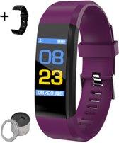 Smartband - Smartwatch, activity tracker - Met Grats extra zwarte polsband - Verpakt in leuk kado blik - Paars