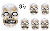 6x Halloween Masker transparant skull