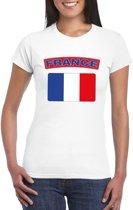 T-shirt met Franse vlag wit dames 2XL
