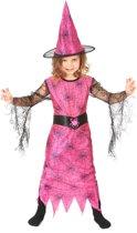 Verkleedkostuum spin heks roze voor meisjes Halloween pak - Verkleedkleding - 134/146