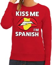 Kiss me I am Spanish sweater rood dames S