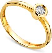 Majestine Solitaire - Ring - 14 Karaat (585) - Geelgoud met Diamant 0.17ct