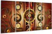 Glasschilderij Klok | Bruin, Rood, Geel | 160x80cm 4Luik | Foto print op Glas |  F004160