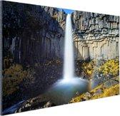 Svartifoss waterval in IJsland Aluminium 90x60 cm - Foto print op Aluminium (metaal wanddecoratie)