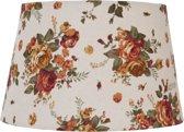 Katoenen Lampenkap  doorsnede:  25*16 cm/E27 beige met rode en oranje rozen