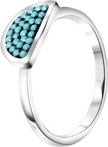 Stalen ring half rond turquoise kristal