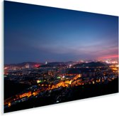Luchtfoto van de Chinese stad Jinan in de nacht Plexiglas 30x20 cm - klein - Foto print op Glas (Plexiglas wanddecoratie)