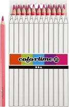 Colortime kleurpotloden, vulling: 5 mm, roze, Jumbo, 12 stuks