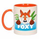 1x Foxy beker / mok - oranje met wit - 300 ml keramiek - vossen bekers