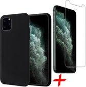 iPhone 11 Pro Hoesje + Screenprotector Case Friendly - Liquid Soft Siliconen Case - iCall - Zwart