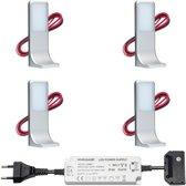 LED onderbouwverlichting keuken Tumba - keukenverlichting / verlichting keukenkastjes - 3,5W / touch / dimbaar / 230V / warmwit - set van 4 stuks