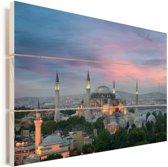 Schemering in Istanbul Vurenhout met planken 120x80 cm - Foto print op Hout (Wanddecoratie)