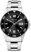 Frank 1967 Watches 7FW 0013 Stalen Horloge met Stalen Band - Ø42 mm - Zwart / Zilverkleurig