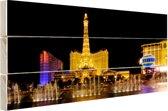 Verlichte Las Vegas strip Hout 160x120 cm - Foto print op Hout (Wanddecoratie) XXL / Groot formaat!