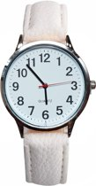 Fako® - Horloge - Rond - Ø 40mm - Zilverkleurig - Wit