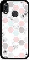 Huawei P20 Lite Hardcase Hoesje Marmer Honeycomb