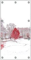 Tuinposter –Rode Boom in de Winter– 100x200cm Foto op Tuinposter (wanddecoratie voor buiten en binnen)