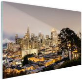 San Francisco by night Glas 60x40 cm - Foto print op Glas (Plexiglas wanddecoratie)
