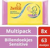 Zwitsal Billendoekjes Sensitive - 8 x 63 stuks - Baby - Voordeelverpakking