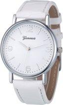 Fako Bijoux® - Horloge - Geneva - Classic Zilverkleurig - Wit
