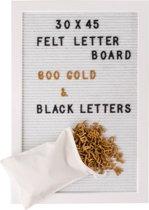 Gadgy® – Wit Houten Letterbord met Wit vilt, 600 letters/leestekens en getallen (300 Wit én 300 Goud) en een Opbergzakje – White letterboard – 30x45cm.