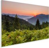 Zonsondergang bij het nationaal park Karpaten in het Europese Oekraïne Plexiglas 60x40 cm - Foto print op Glas (Plexiglas wanddecoratie)