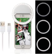 Selfie Ring Light Clip / Led Lamp / 3 Standen / Oplaadbaar / Flashlight / Ring Lamp / Verlichting in Wit