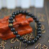 Stoere houten kralen armband met boeddha teken- zwart