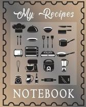 My Recipes Notebook: Classic Brown Recipe Book Planner Journal Notebook Organizer Gift - Favorite Family Serving Ingredients Preparation Ba
