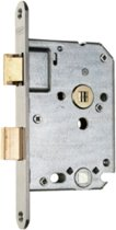 Nemef badkamerdeurslot 1264/4 rechts - Doornmaat 50mm - Wit gelakte voorplaat - Met sluitplaat