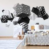 Fotobehang 3D Black And White Cubes | VEXXXL - 416cm x 254cm | 130gr/m2 Vlies