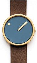 Picto 43376 horloge dames en heren - bruin - edelstaal doubl�
